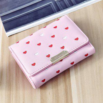 Metal Embroidery Heart Pattern Wallet -  PINK