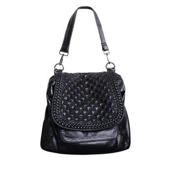PU Leather Plaid Pattern Magnetic Closure Backpack