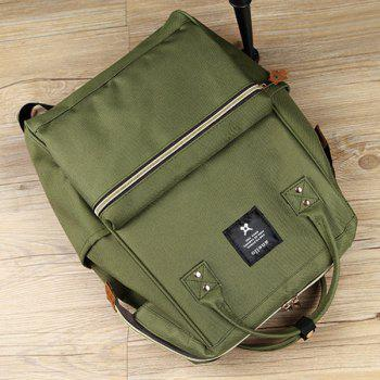 Zippers Canvas Metal Backpack - ARMY GREEN