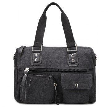 Zippers Canvas Double Pocket Shoulder Bag