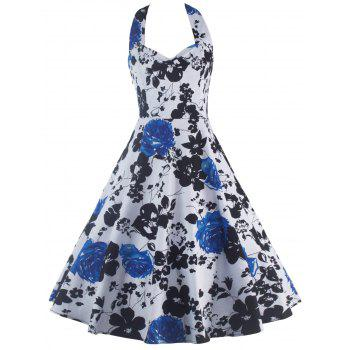 Halterneck Print Swing Dress