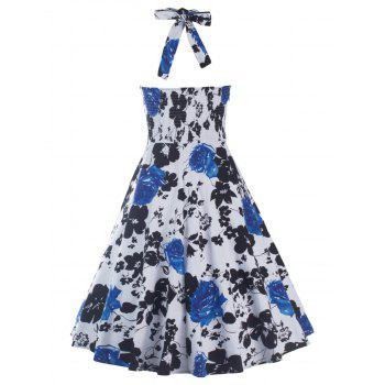 Halterneck Print Swing Dress - BLUE M