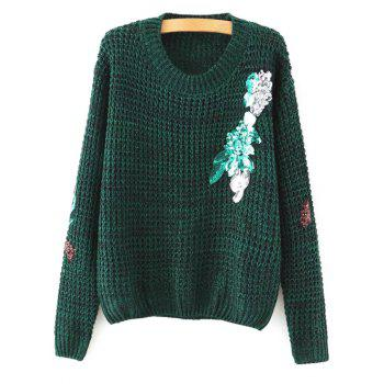 Round Neck Long Sleeve Sequins Sweater