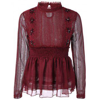 Beaded Lace Splicing Peplum Blouse