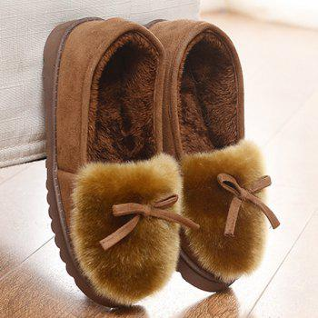 Suede Bow Faux Fur Slippers - COFFEE COFFEE