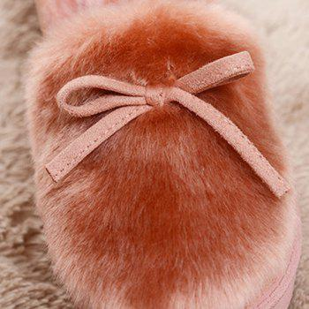 Suede Bow Faux Fur Slippers - GRAY GRAY