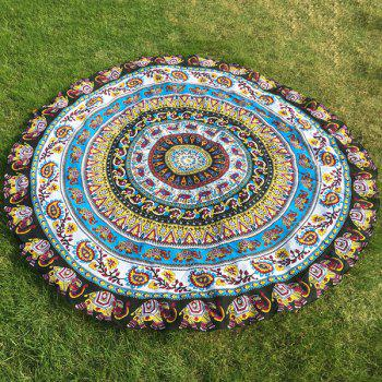 Ethnic Indian Paisley and Elephant Print Chiffon Round Beach Throw