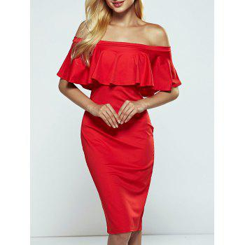 Off-The-Shoulder Overlay Flounce Bodycon Formal Dress