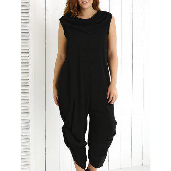 Plus Size Cowl Neck Ruched Plain Jumpsuit