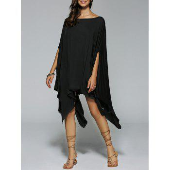 Boat Neck Dolman Sleeves Handkerchief Dress