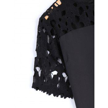 Guipure Lace Splicing Openwork Blouse - BLACK BLACK