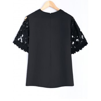 Guipure Lace Splicing Openwork Blouse - BLACK L