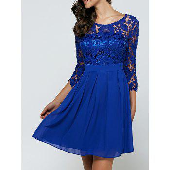 3/4 Sleeves Laciness Cutwork Chiffon Club Dress