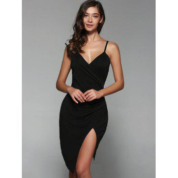Surplice Slit Cami Club Dress - BLACK BLACK