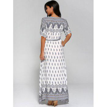 Surplice High Slit Paisley Maxi Dress - WHITE XL