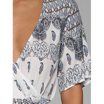 Surplice High Slit Paisley Maxi Dress - WHITE M