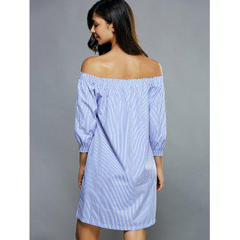 Off Shoulder Casual Striped Tunic Dress - LIGHT BLUE S