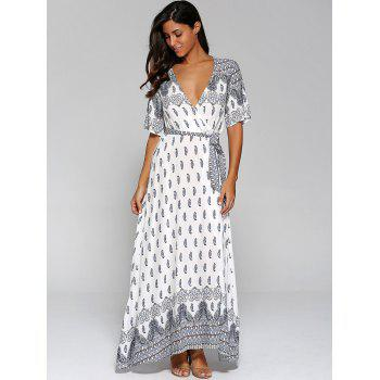 Surplice High Slit Paisley Maxi Dress - 2XL 2XL