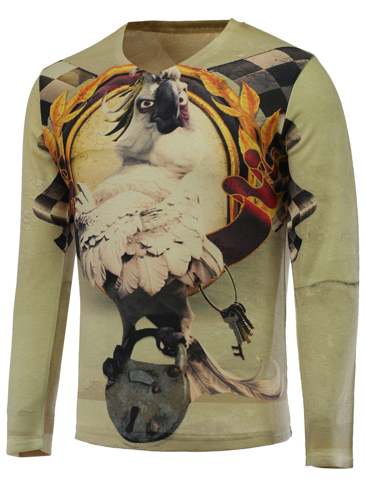 3D Funny Eagle Print V-Neck Long Sleeve Sweater