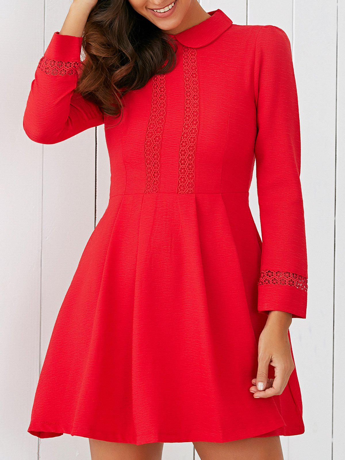Elegant Peter Pan Collar Lace Spliced Fit and Flare Dress - RED M