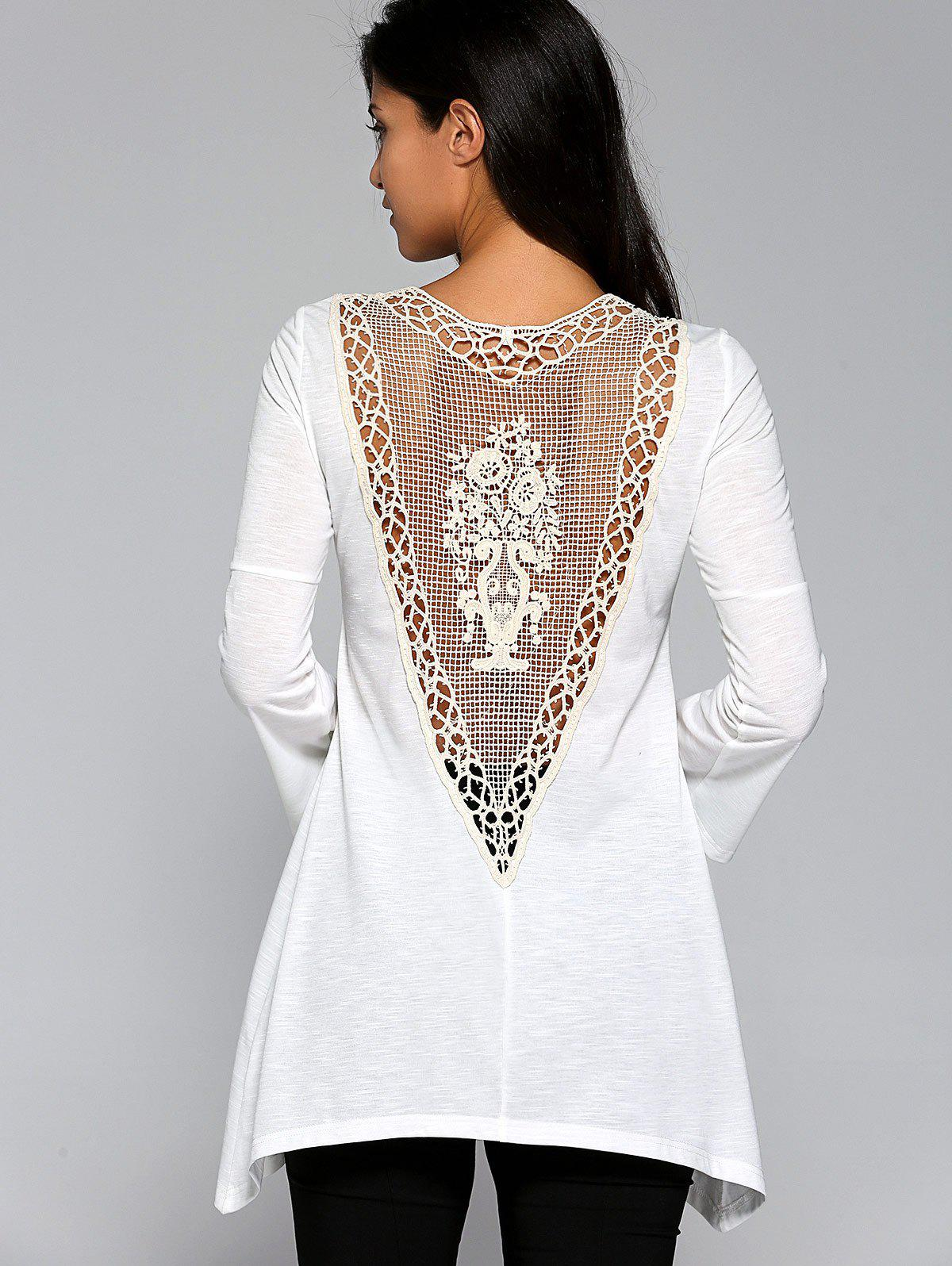 Sweet Crochet Patchwork Back Asymmetrical Blouse - WHITE XL