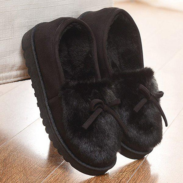 Suede Bow Faux Fur Slippers