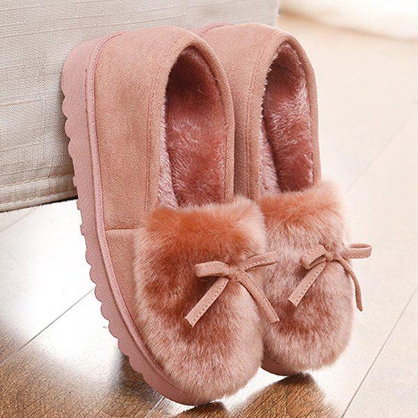 Suede Bow Faux Fur Slippers - LIGHT PINK 37