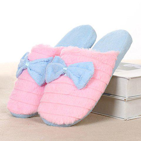 Slip On Bowknot Warm Fuzzy Slippers