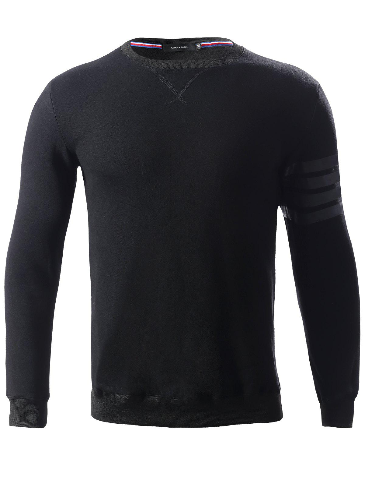Stripe Embellished Round Neck Long Sleeve Loose-Fitting Thicken Men's Sweatshirt - BLACK L