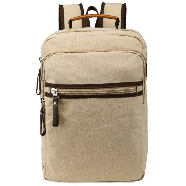 Couleur Bloc Zippers Canvas Backpack - Kaki Clair