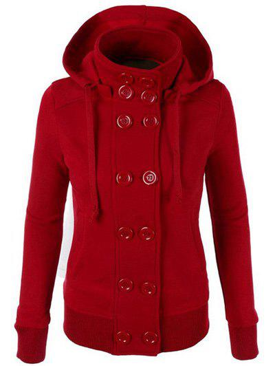 Chic Hooded Long Sleeve Double-Breasted Pure Color Women's Hoodie - RED L
