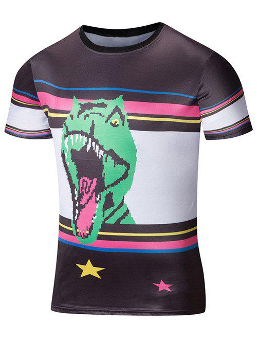 Color Splicing Animal 3D Print Striped T-Shirt