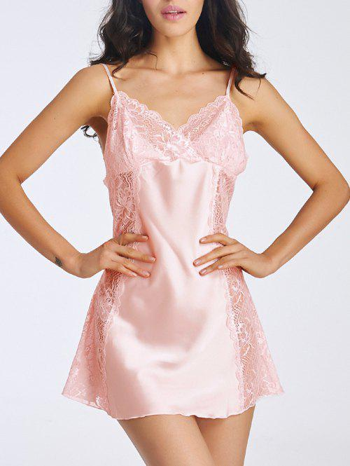 Charming Cami Lace Splicing Backless Women's Babydoll - PINK M