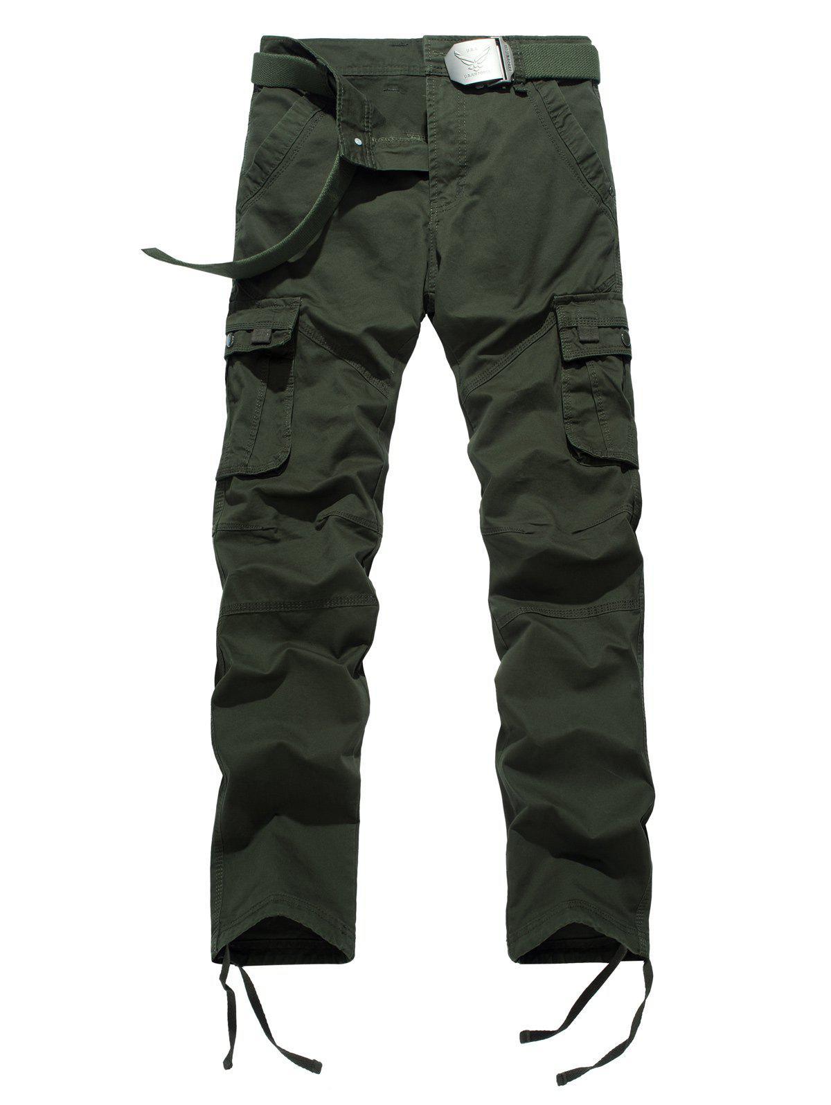 Plus Size Pocket design Drawstring Zipper Fly Pantalon cargo - Vert Armée 40