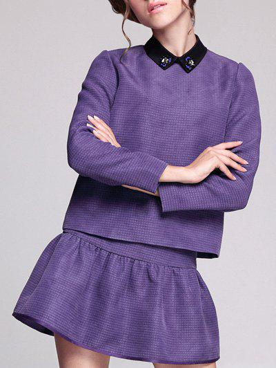 Flat Collar A Line Short Two Piece Dress - PURPLE M