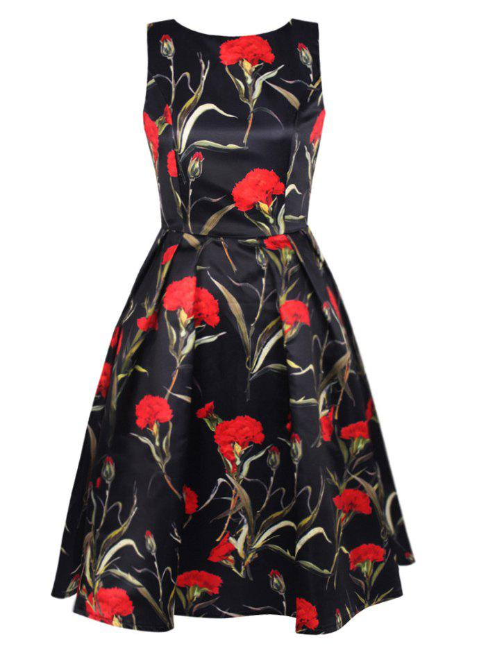 Blossom imprimé floral Swing Prom Dress - Noir L