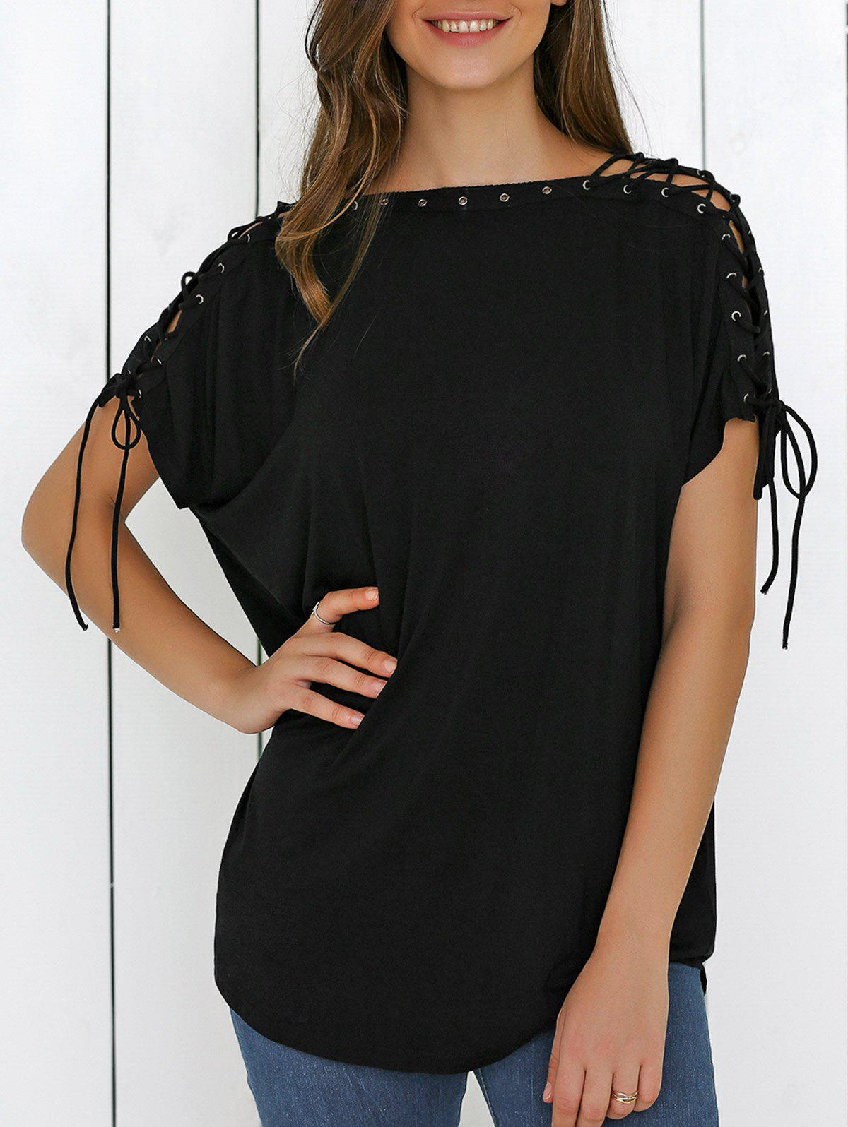 Lace-Up Batwing Sleeve T-ShirtWomen<br><br><br>Size: M<br>Color: BLACK