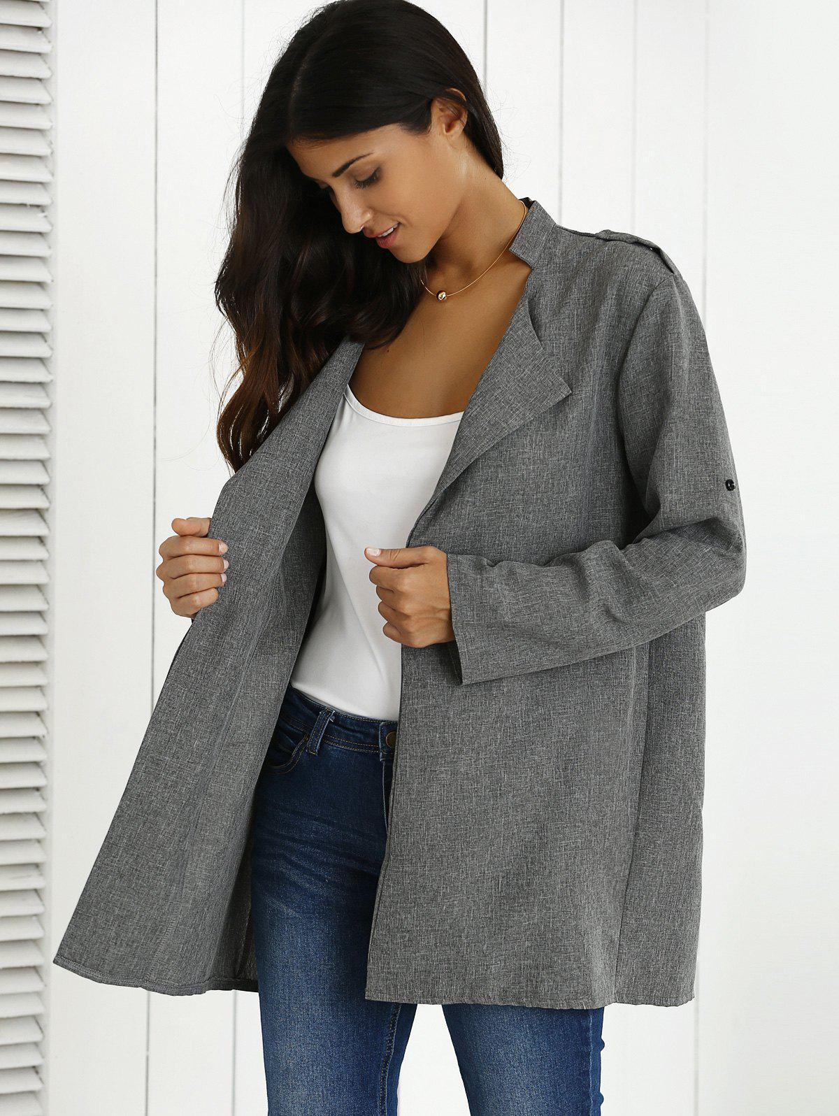 Hemming Sleeves Heather Shoulder Mark Coat - GRAY 2XL