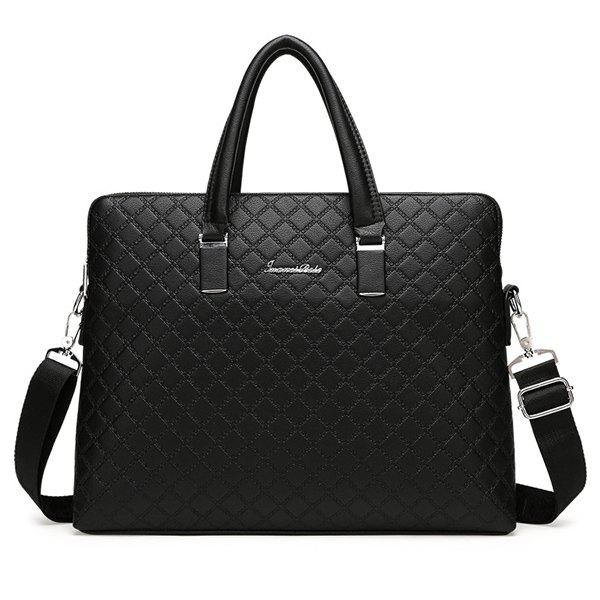 Metal Dark Color Argyle Pattern Briefcase - BLACK