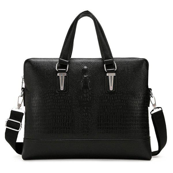 Dark Colour Metal Embossing Briefcase - BLACK