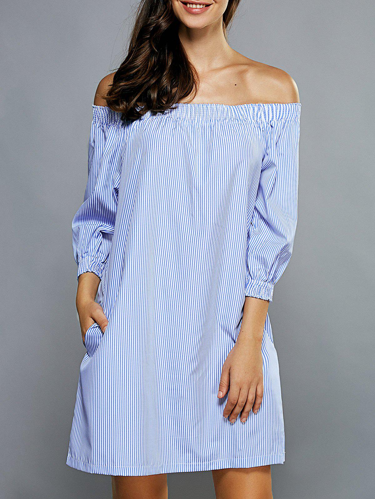 Off-The-Shoulder Striped 3/4 Sleeves Dress - LIGHT BLUE S