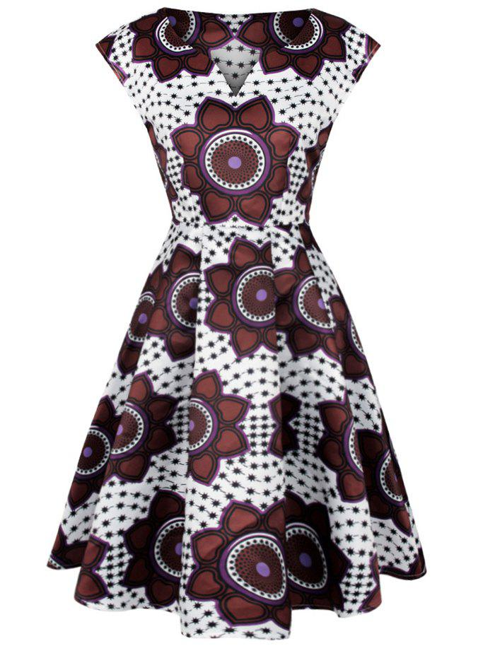 Sleeveless Floral Print Dotted Swing Dress - WHITE M