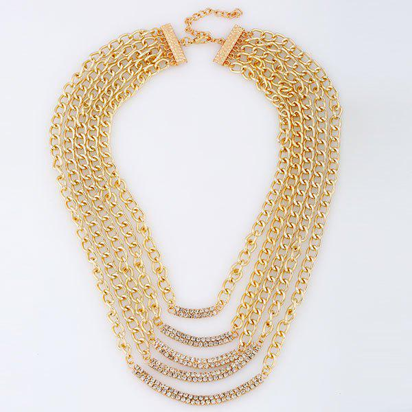 Strass Layered Necklace Métal - Or