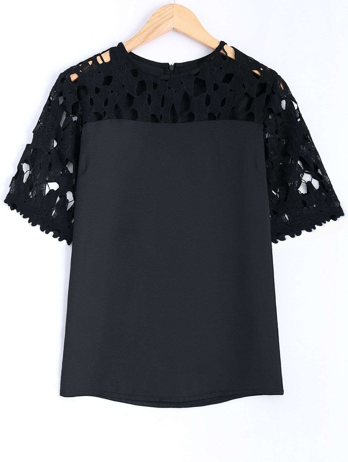 Guipure Lace Splicing Openwork Blouse - BLACK XL