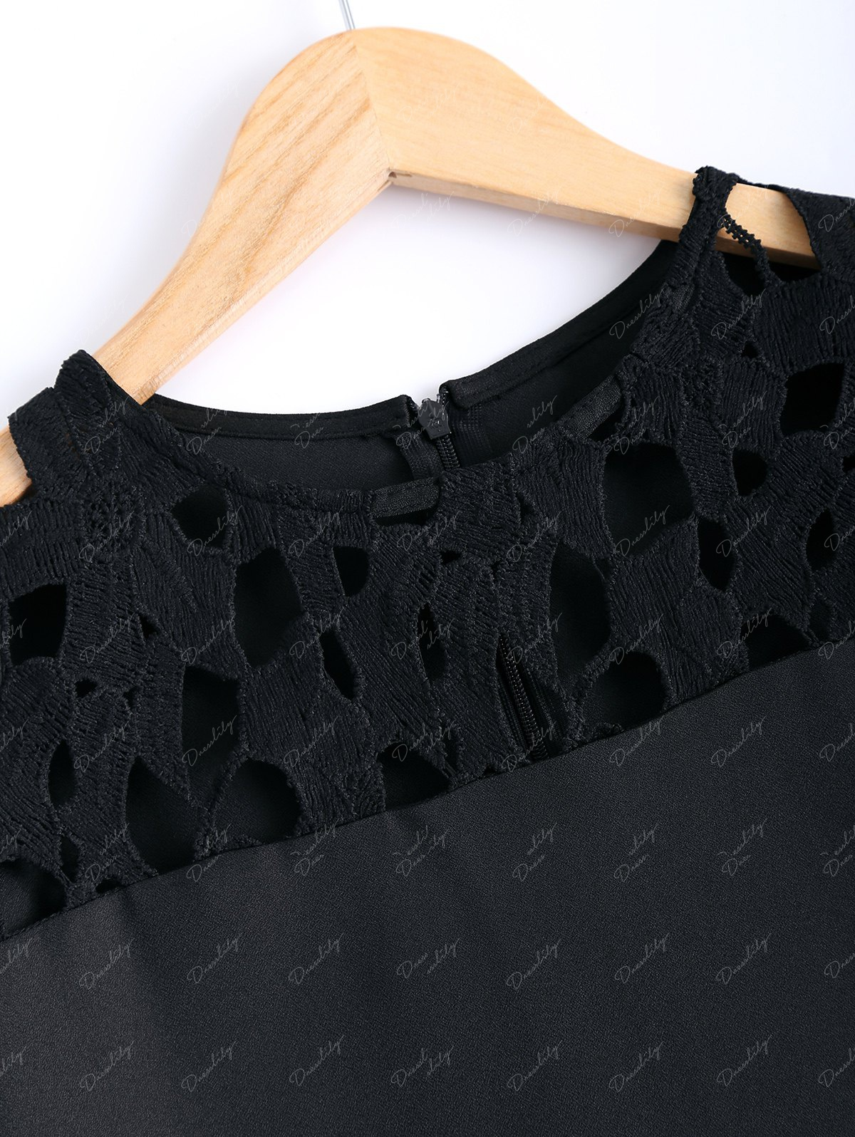 Guipure Lace Splicing Openwork Blouse - BLACK 2XL