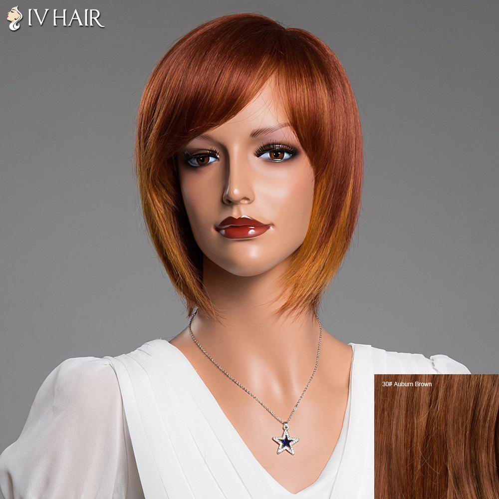 Short Straight Inclined Bang Siv Real Natural Hair Bob Wig - AUBURN BROWN