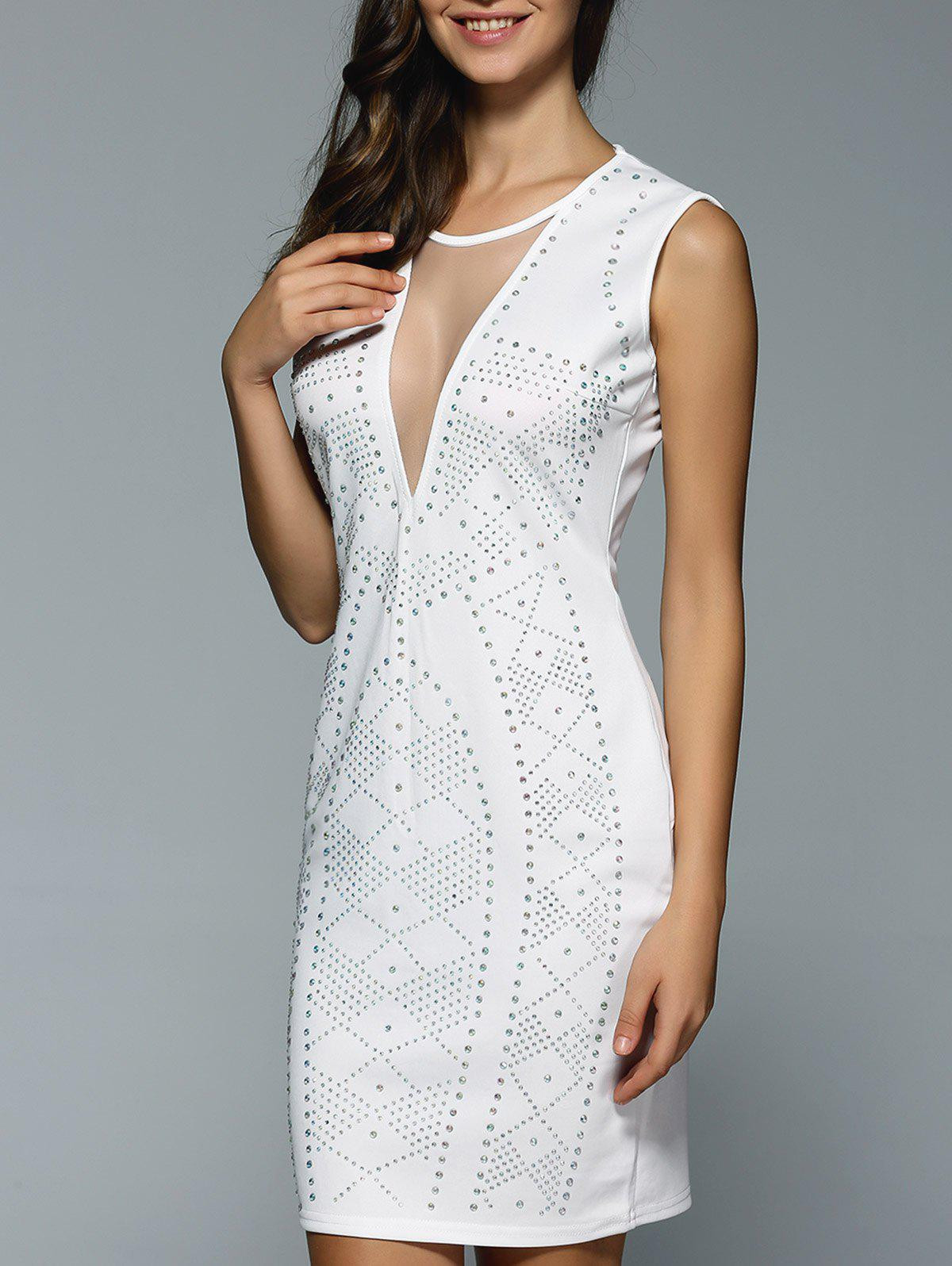 Mesh See-Through Beaded Bodycon Dress - WHITE S