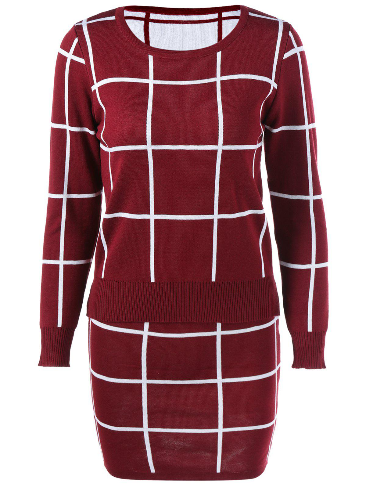 Plaid Sweater + Skirt Suit - WINE RED ONE SIZE