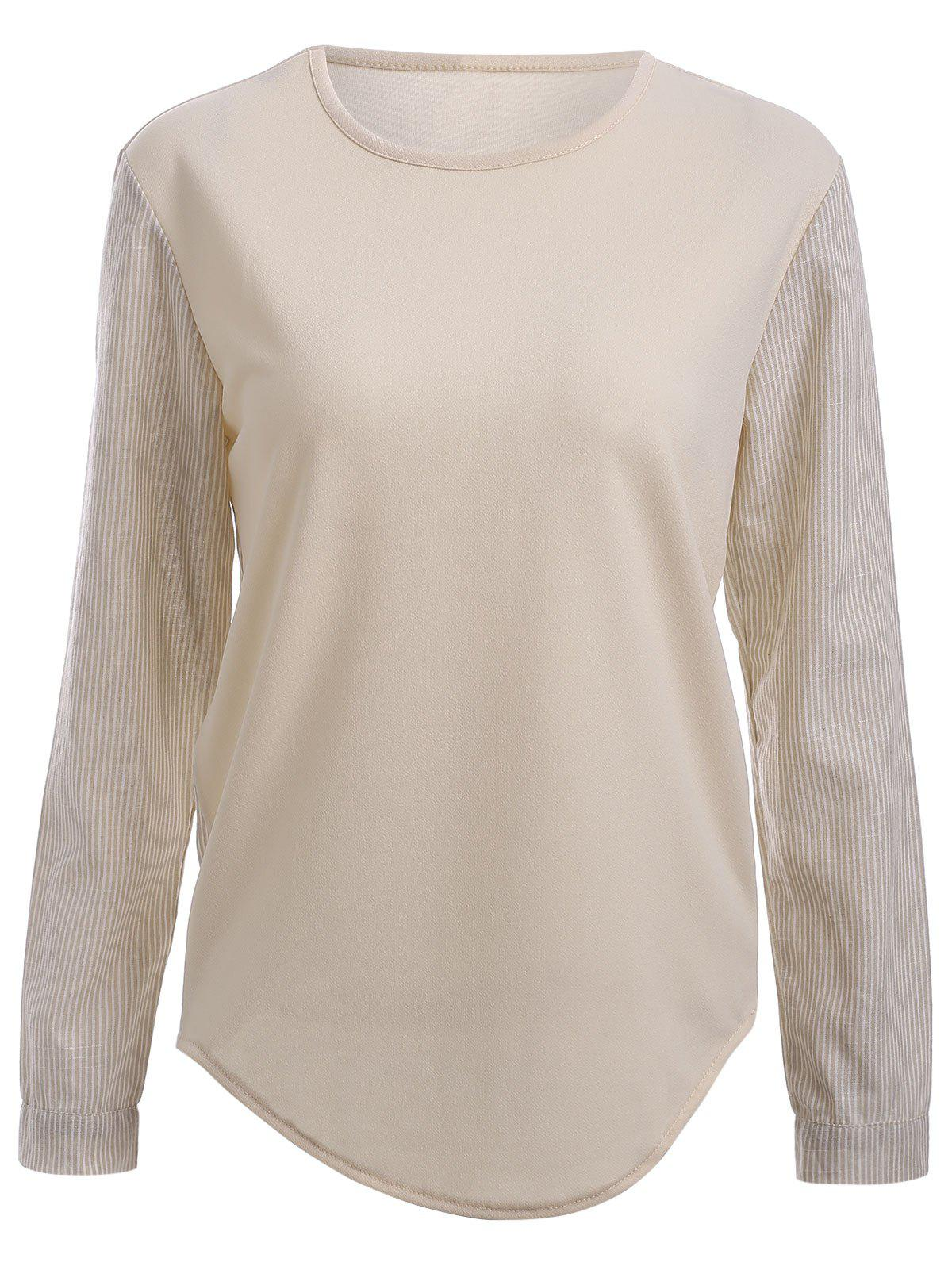 Two-Tone Cream Long Sleeves High Low T-Shirt - APRICOT 2XL