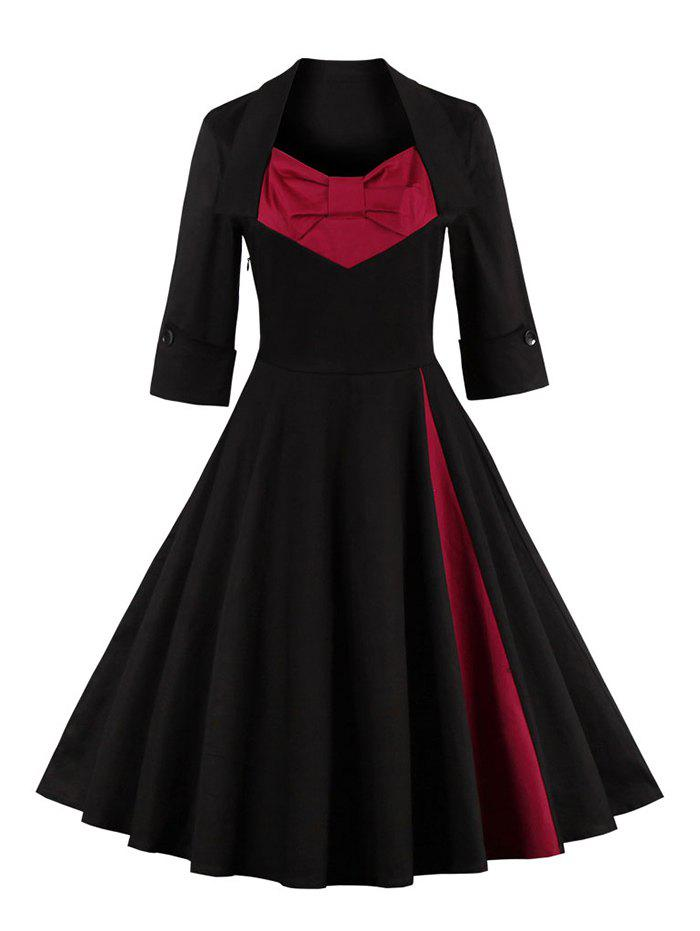 Bowknot Panel Flare Rockabilly Swing Dress - BLACK L